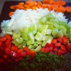 colorful veggies and herbs